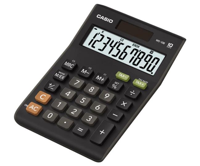 เครื่องคิดเลข Casio แบบมีฟังส์ชั่น 10 Digits MS-10B