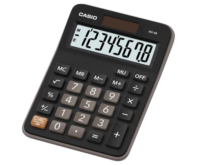 เครื่องคิดเลข Casio แบบมีฟังส์ชั่น 8 Digits MS-8B