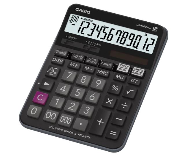 เครื่องคิดเลข Casio แบบมีฟังส์ชั่น - ตรวจทาน 12 Digits DJ-120D Plus