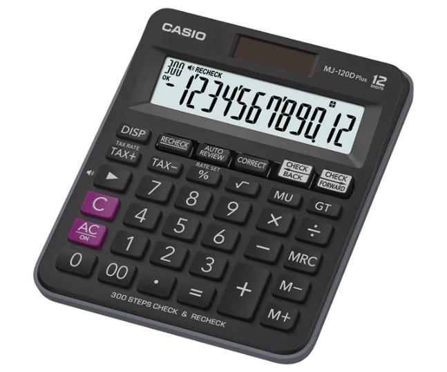 เครื่องคิดเลข Casio แบบมีฟังส์ชั่น - ตรวจทาน 12 Digits MJ-120D Plus