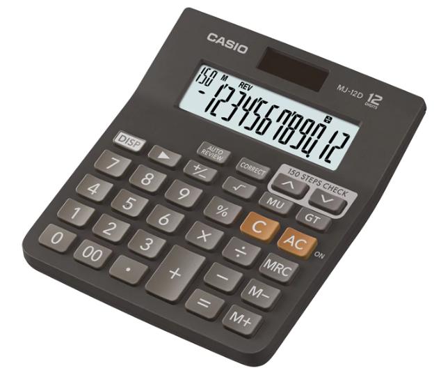 เครื่องคิดเลข Casio แบบมีฟังส์ชั่น - ตรวจทาน 12 Digits MJ-12D