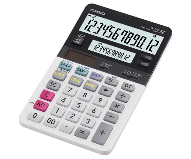 เครื่องคิดเลข Casio แบบมีฟังส์ชั่น - ตรวจทาน 12 Digits JV-220
