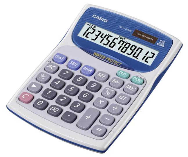 เครื่องคิดเลข Casio แบบมีฟังส์ชั่น - กันน้ำ 12 Digits WD-220MS