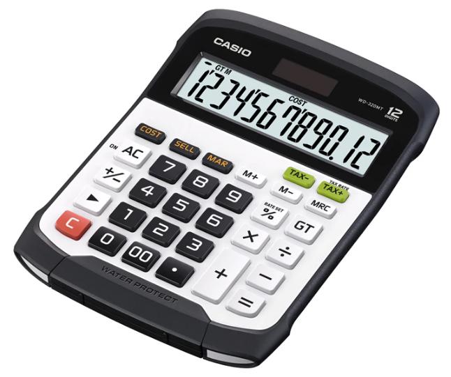 เครื่องคิดเลข Casio แบบมีฟังส์ชั่น - กันน้ำ 12 Digits WD-320MT