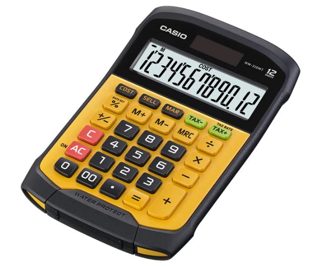 เครื่องคิดเลข Casio แบบมีฟังส์ชั่น - กันน้ำ 12 Digits WM-320TM