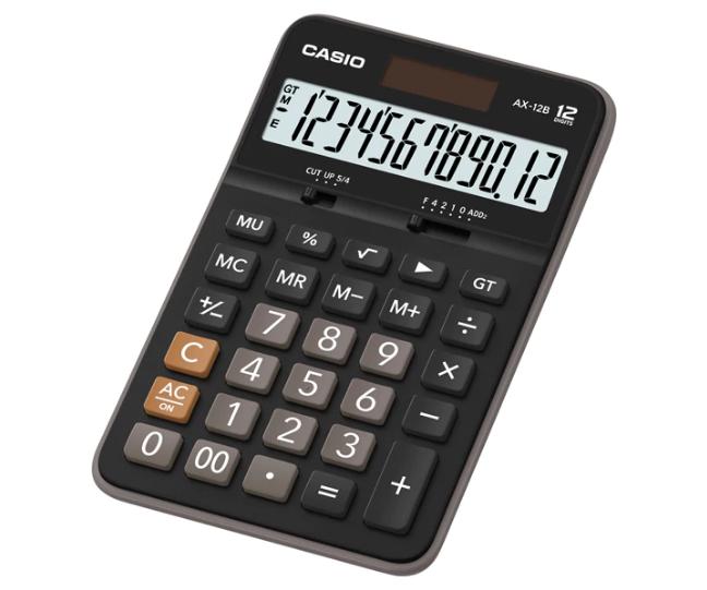 เครื่องคิดเลข Casio แบบไม่มีฟังส์ชั่น 12 Digits AX-12B