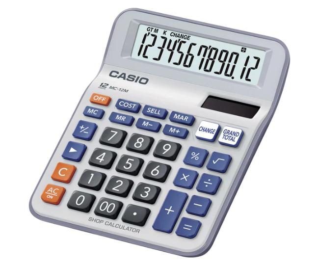 เครื่องคิดเลข Casio แบบมีฟังส์ชั่น - เงินทอน 12 Digits MC-12M