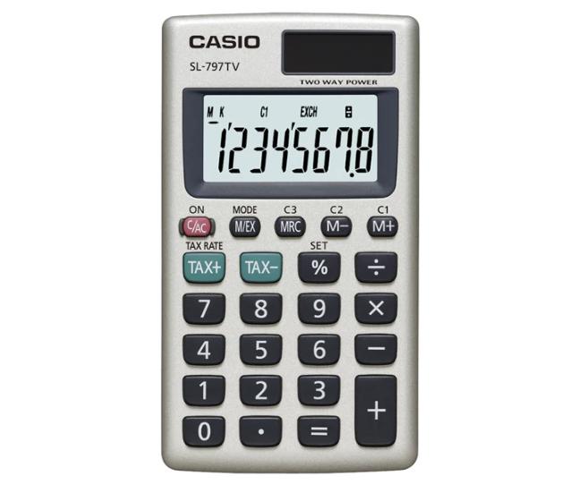 เครื่องคิดเลข Casio แบบพกพา 8 Digits SL-797TV