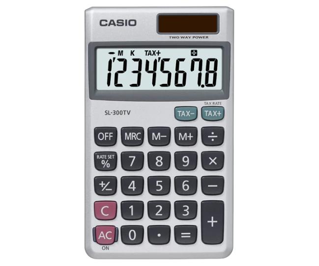 เครื่องคิดเลข Casio แบบพกพา 8 Digits SL-300TV