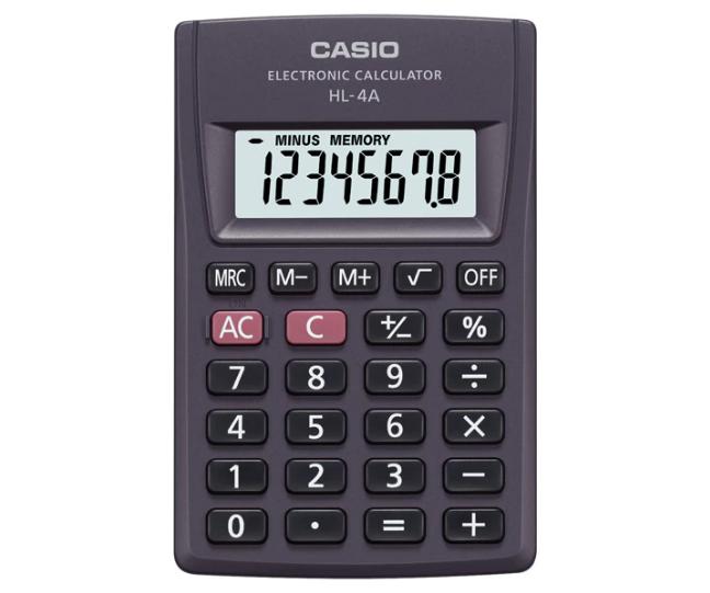 เครื่องคิดเลข Casio แบบพกพา 8 Digits HL-4A