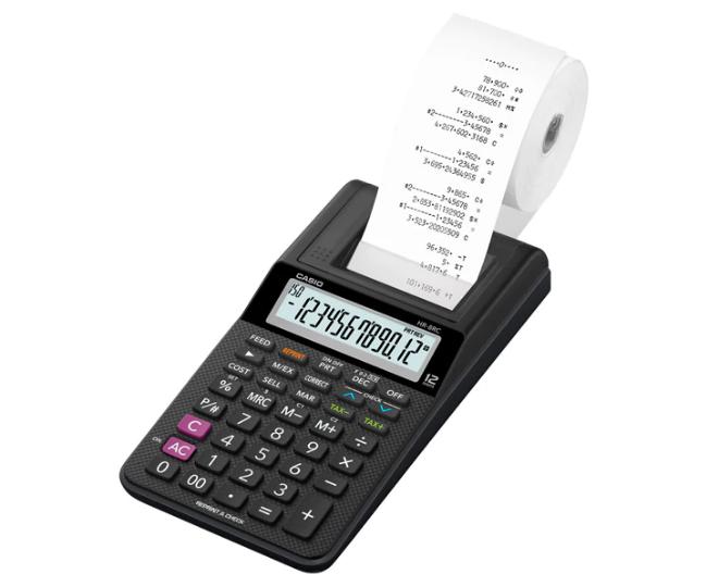 เครื่องคิดเลข Casio 12 หลัก HR-8RC + AD แบบพิมพ์ - อิ้งโรลล์