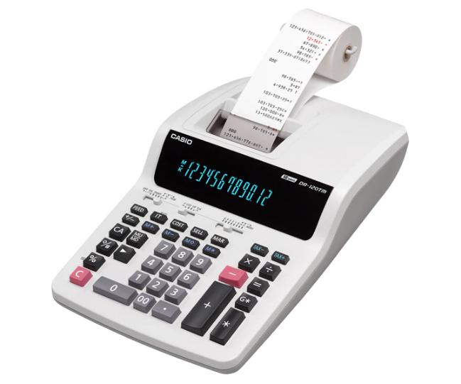 เครื่องคิดเลข Casio แบบพิมพ์ - ผ้าพิมพ์ 12 หลัก DR-120TM
