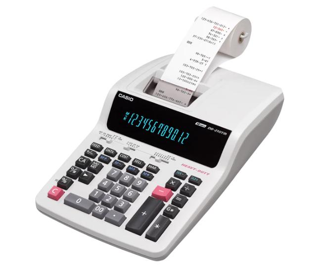 เครื่องคิดเลข Casio แบบพิมพ์ - ผ้าพิมพ์ 12 Digits DR-210TM