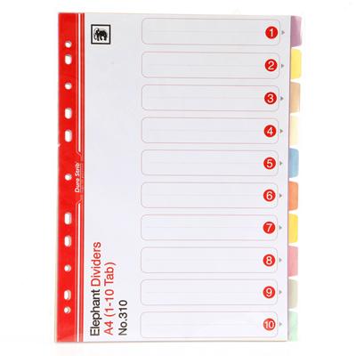 อินเด็กซ์กระดาษการ์ด ตราช้าง 310 (๋1-10) คละสี