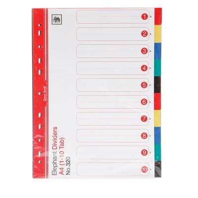 อินเด็กซ์พลาสติก PP ตราช้าง 320 (๋1-10) คละสี