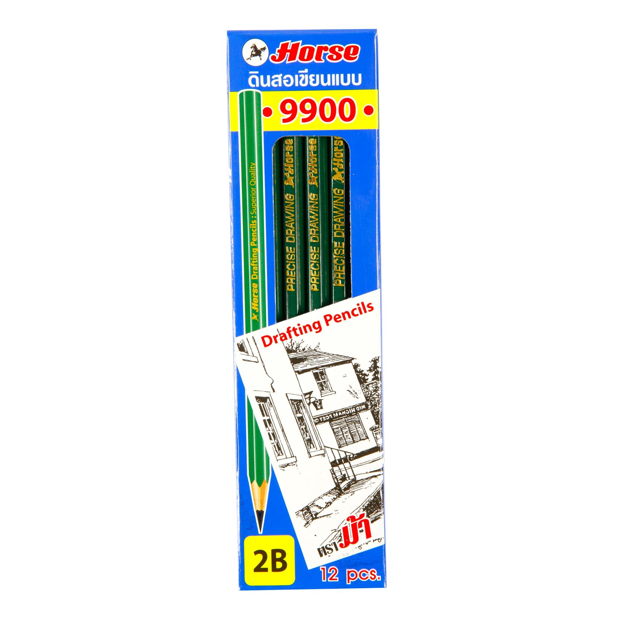 ดินสอไม้ เขียนแบบ ตราม้า H-9900 2B