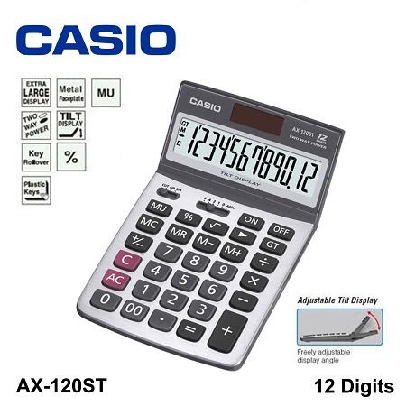 เครื่องคิดเลข Casio 12 หลัก  AX-120ST แบบไม่มีฟังส์ชั่น