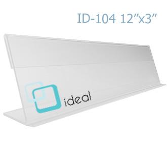ป้ายตั้งโต๊ะอะคริลิค รูปตัว L ID-104 12x13 นิ้ว IDEAL