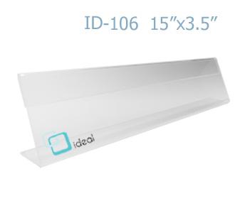 ป้ายตั้งโต๊ะอะคริลิค รูปตัว L ID-106 15x3.5 นิ้ว IDEAL