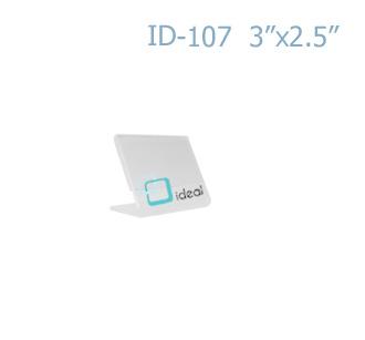 ป้ายตั้งโต๊ะอะคริลิค รูปตัว L ID-107 3x2.5 นิ้ว IDEAL