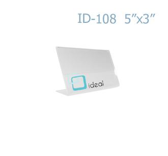 ป้ายตั้งโต๊ะอะคริลิค รูปตัว L ID-108 5x3 นิ้ว IDEAL