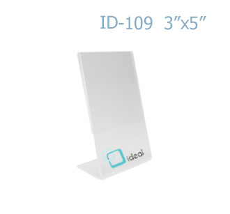 ป้ายตั้งโต๊ะอะคริลิค รูปตัว L ID-109 3x5 นิ้ว IDEAL