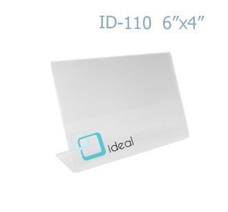 ป้ายตั้งโต๊ะอะคริลิค รูปตัว L ID-110 6x4 นิ้ว IDEAL