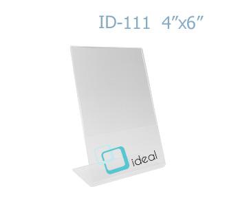 ป้ายตั้งโต๊ะอะคริลิค รูปตัว L ID-111 4x6 นิ้ว IDEAL