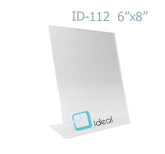 ป้ายตั้งโต๊ะอะคริลิค รูปตัว L ID-112 6x8 นิ้ว IDEAL