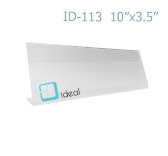 ป้ายตั้งโต๊ะอะคริลิค รูปตัว L ID-113 10x3.5 นิ้ว IDEAL
