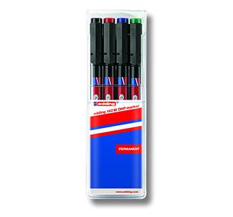 ปากกาเขียนแผ่นใส ลบน้ำไม่ได้ (ชุด 4 ด้าม) หัว M 142 EDDING