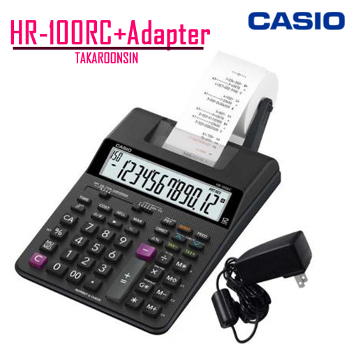 เครื่องคิดเลข Casio 12 หลัก  HR-100RC + AD แบบพิมพ์ - อิ้งโรลล์