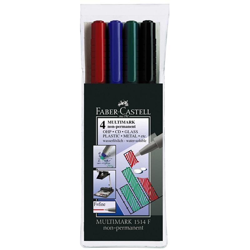 ปากกาเขียนแผ่นใสลบไม่ได้ 0.4 มม. แบบแพ็ค 4 สี (S) Faber-Castell