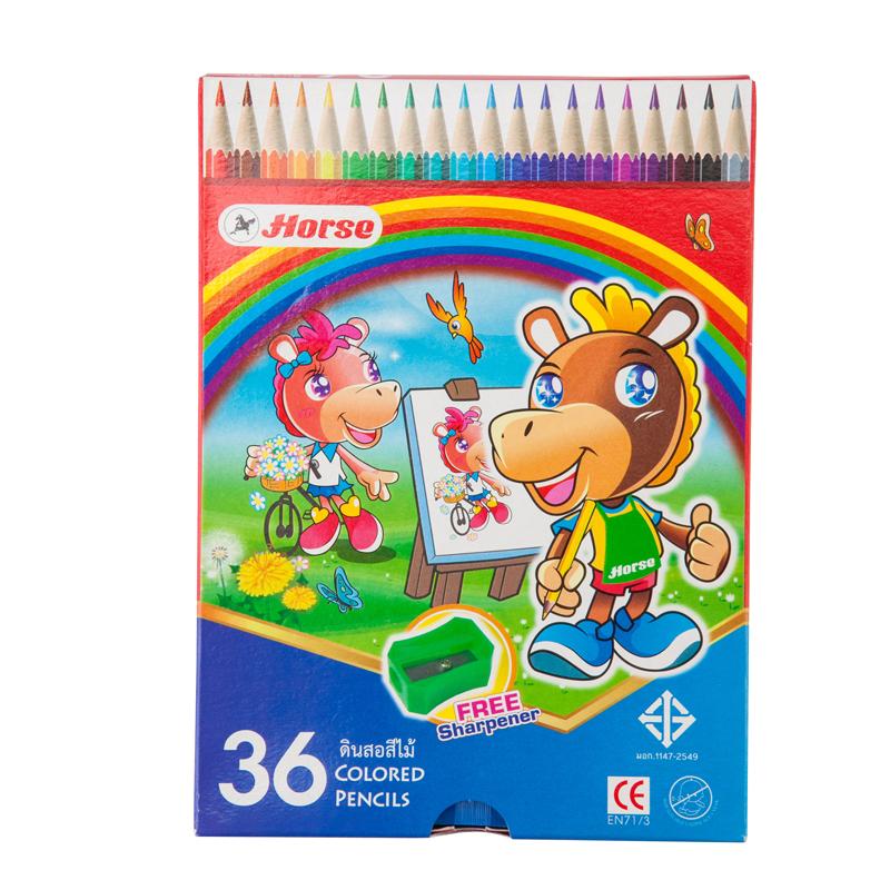 ดินสอสีพร้อมกบเหลา 36 สี ตราม้า H-2080