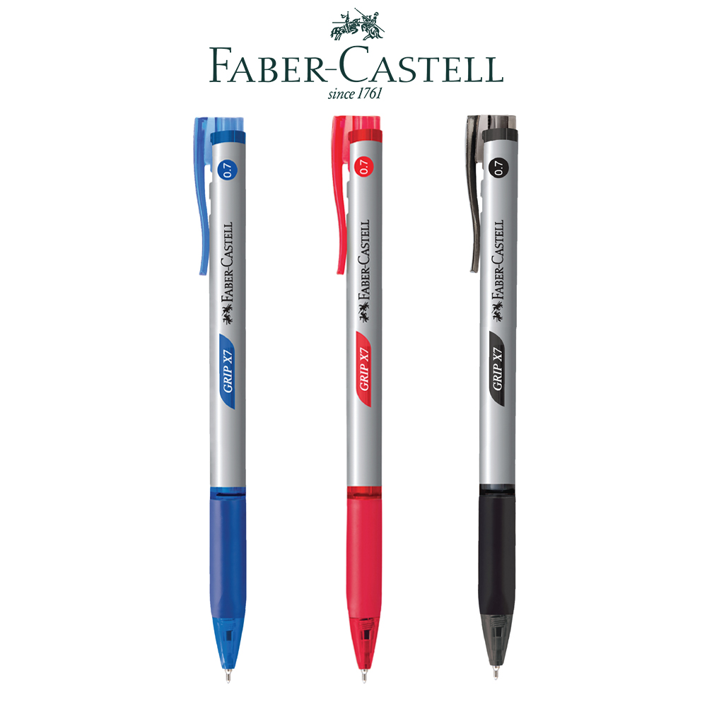 ปากกาลูกลื่น 0.7 มม. น้ำเงิน Faber-Castell Grip X7