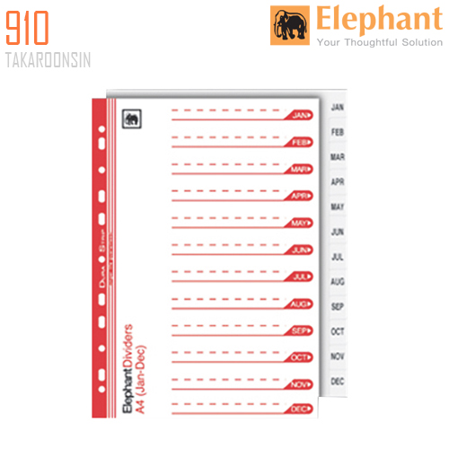 อินเด็กซ์กระดาษการ์ด ตราช้าง 910 (๋JAN-DEC)