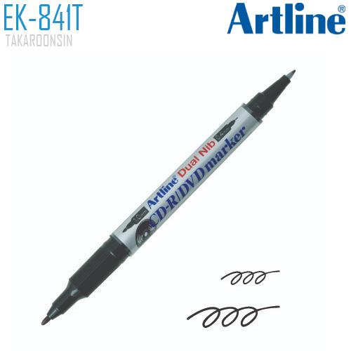 ปากกาเขียนแผ่นซีดี/ดีวีดี 2 หัว ARTLINE EK-841T/B