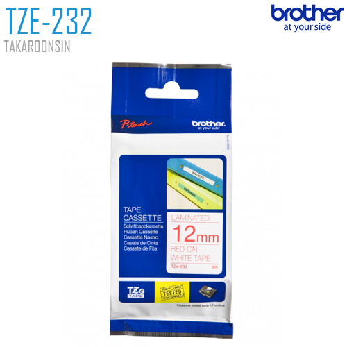 เทปพิมพ์ฉลาก 12 มิล BROTHERr TZE-232 (พื้นเทปสีขาว ตัวอักษรสีแดง)