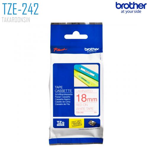 เทปพิมพ์ฉลาก 24 มิล BROTHER TZE-252 (พื้นเทปสีขาว ตัวอักษรสีแดง)