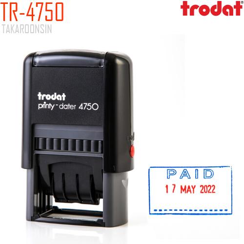 ตรายางวันที่ หมึกในตัว +PAID Blue-Red Trodat TR-4750